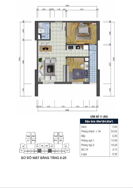 Thiết kế căn hộ số 11 - Chung cư Goldsilk Complex Vạn Phúc