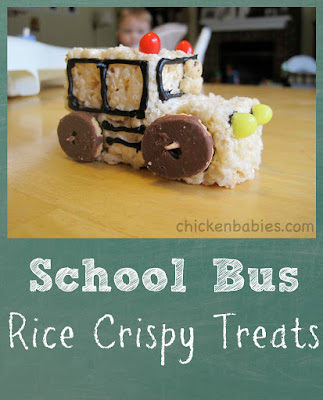 cute back to school treat - Rice Crispy Treat School Buses!