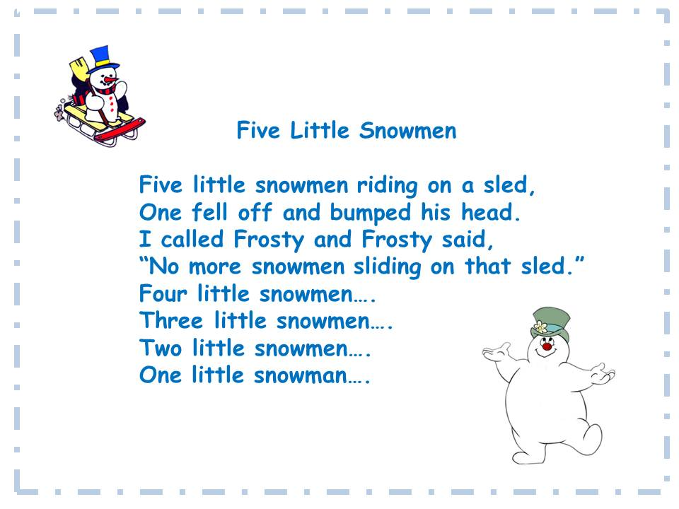 ... Teacher's Touch: Rockin' with Five Little Snowmen song and song chart