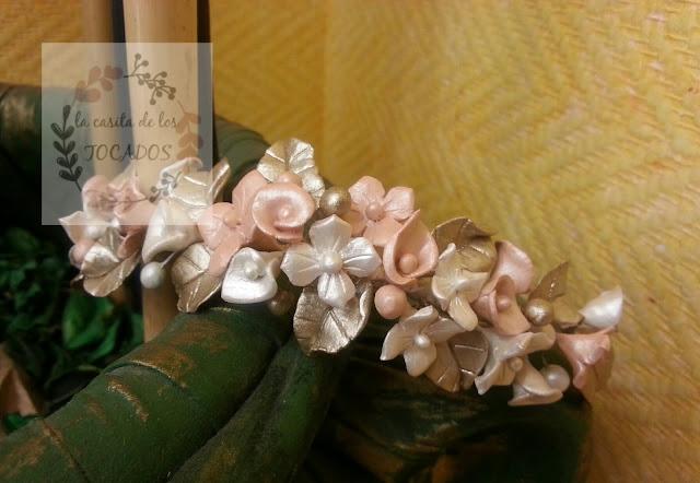 peineta para novia vintage realizada en porcelana fría totalmente artesanal