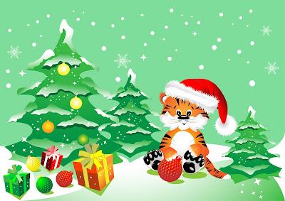 Ilustracion navideña con arbolito y regalos