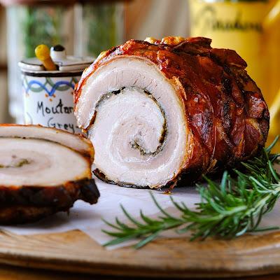 Slow roast rolled pork belly recipe
