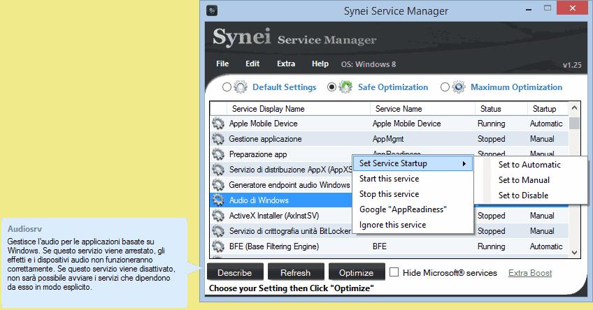 Synei Service Manager gestione e descrizione servizi Windows