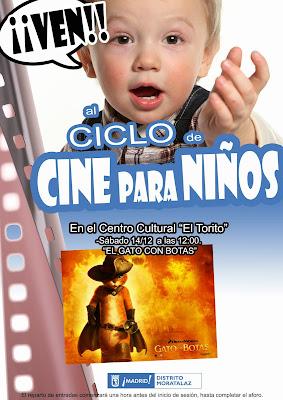 Cartel del Ciclo de Cine para Niños anunciando la sesión del 14 de diciembre de 2013.