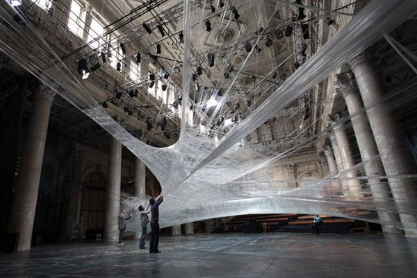 Spider Web Installation Made of Packaging Tape 1