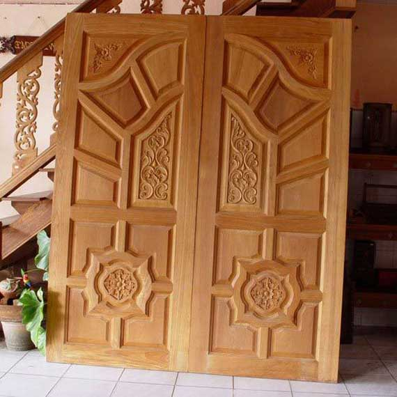 Double front door designs wood kerala special gallery for Exterior wooden door designs
