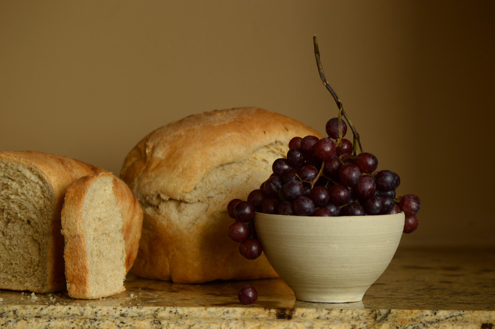 Still Life with Grapes and Bread, Colour, photography, amy myers