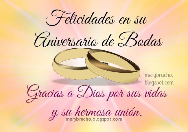Tarjeta Feliz Aniversario de Bodas. Imágenes de felicitaciones por aniversario de bodas, frases de aniversario por boda, matrimonio, postales cristianas de aniversario.