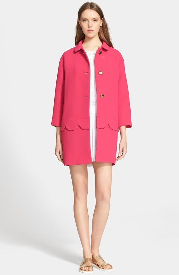 pink kate spade talia scalloped coat