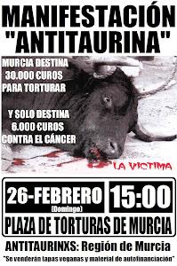 Performance y manifestación Antitaurina Murcia (26-2-2012)
