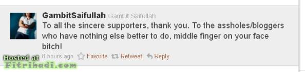 gambit saifullah kutuk blogger middle finger