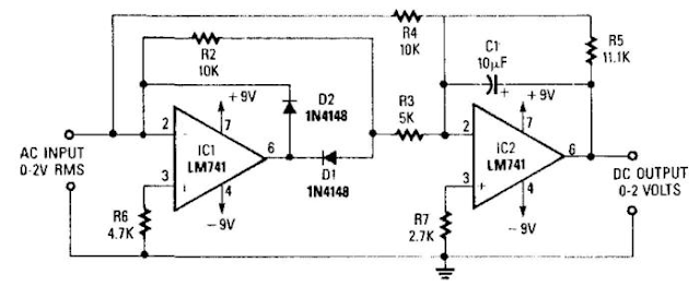 precision full wave ac dc converter circuit diagram