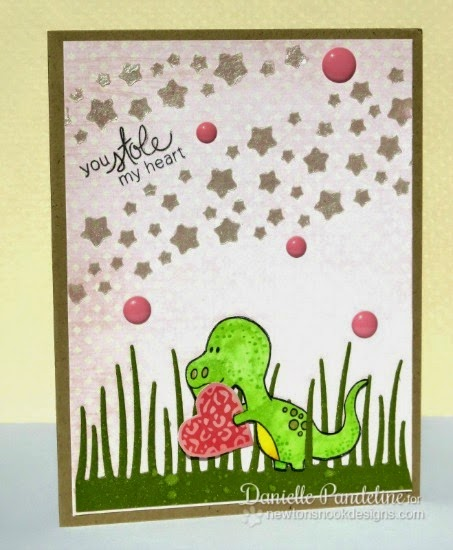 You Stole My Heart Dinosaur Valentine Card by Danielle Pandeline | Dinosaur Stamps by Newton's Nook Designs