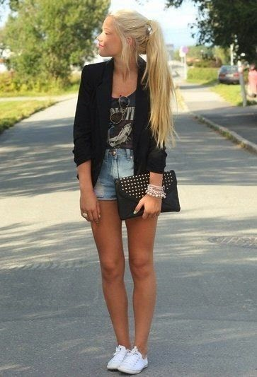 Denim Shorts With Printed Singlet And Jacket
