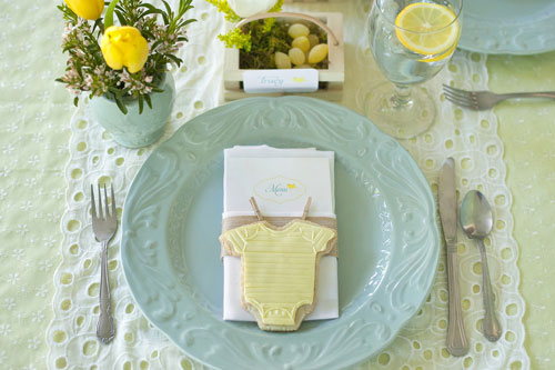 I Heart Pears Aqua And Yellow Elegant Baby Shower