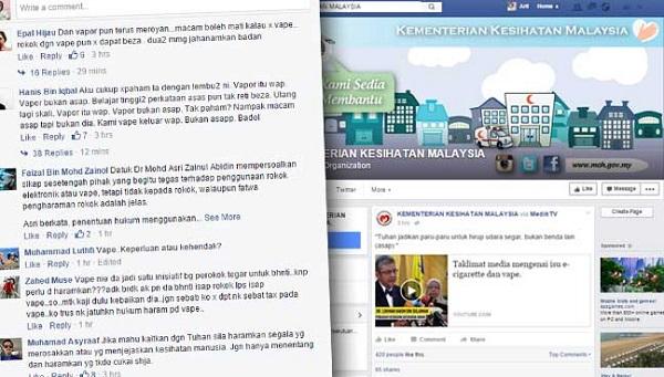 Vapers 'Serang' Laman Facebook Rasmi Kementerian Kesihatan