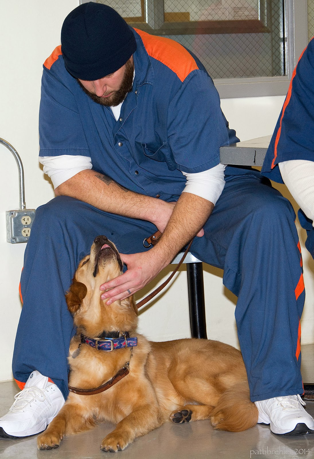 A man wearing a blue knit hat and blue shirt and pants with orange stripes is sitting on a chair looking down at a golden retriver laying on the floor under the chair and between the man's legs. The man is petting the dog under its chin with his left hand. The dog is looking up at the man.