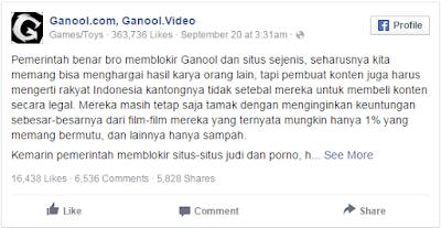 Status Ganool untuk penggunanya