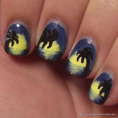 glitter obsession: Palm Tree Nail Art