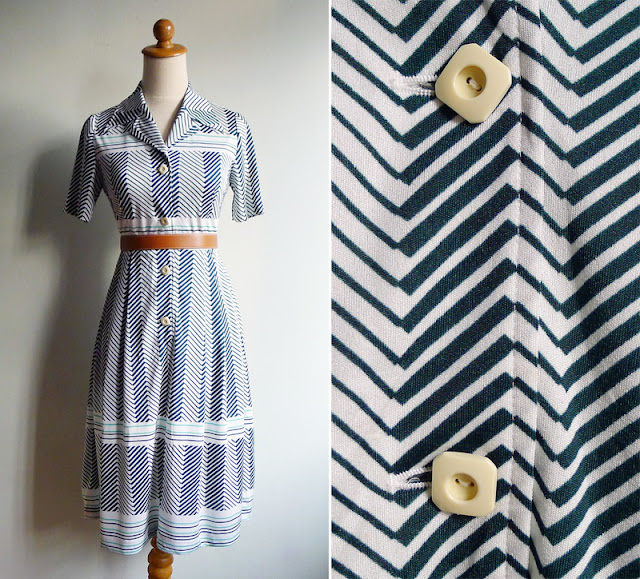 vintage 70's green chevron striped dress