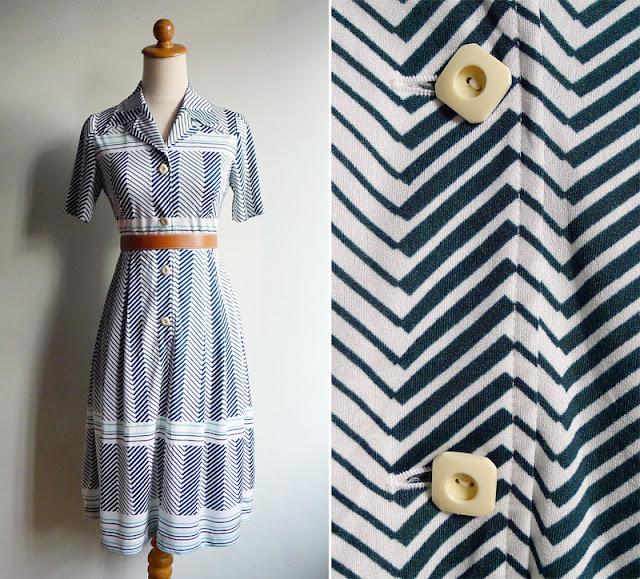vintage 70's green chevron striped dress