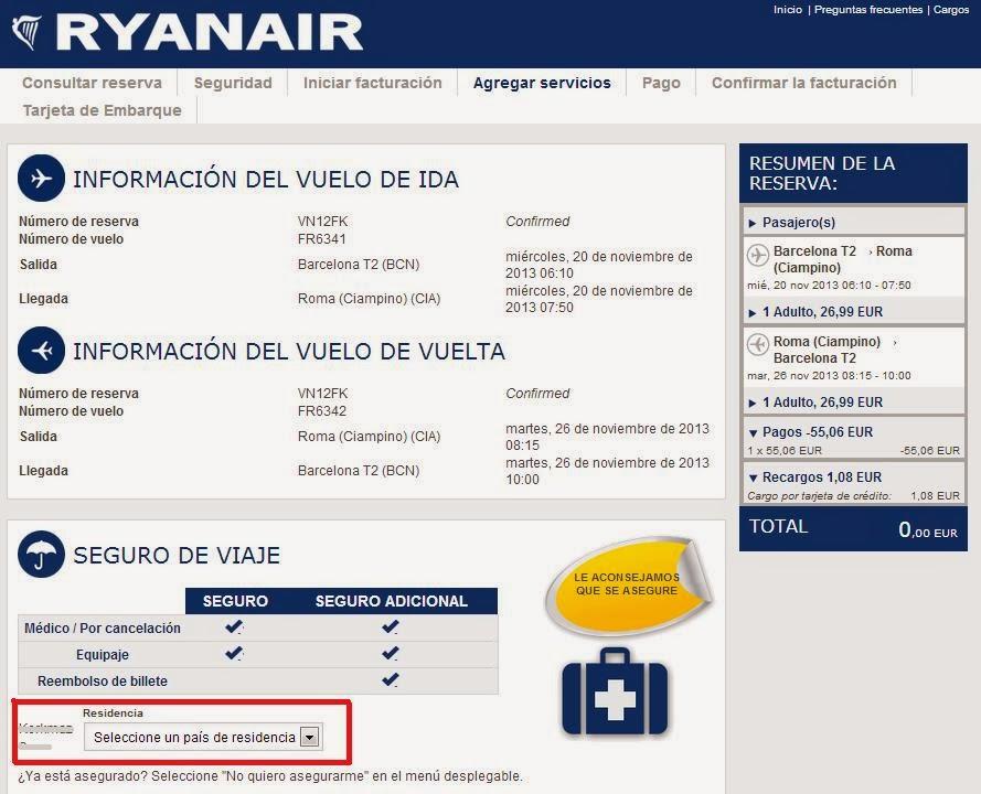 confirmar vuelo con Ryanair