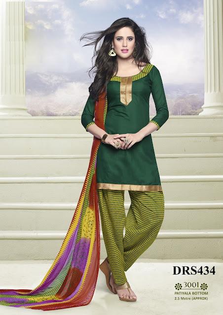 Buy Online Chanderi Cotton Patiala Dress Material