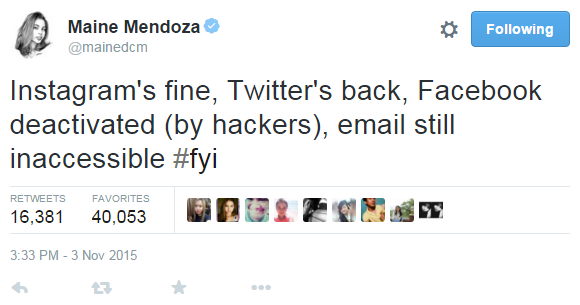 Maine Mendoza Hacked