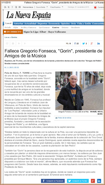 Fallecimiento de Gregorio Fonseca, Gorín