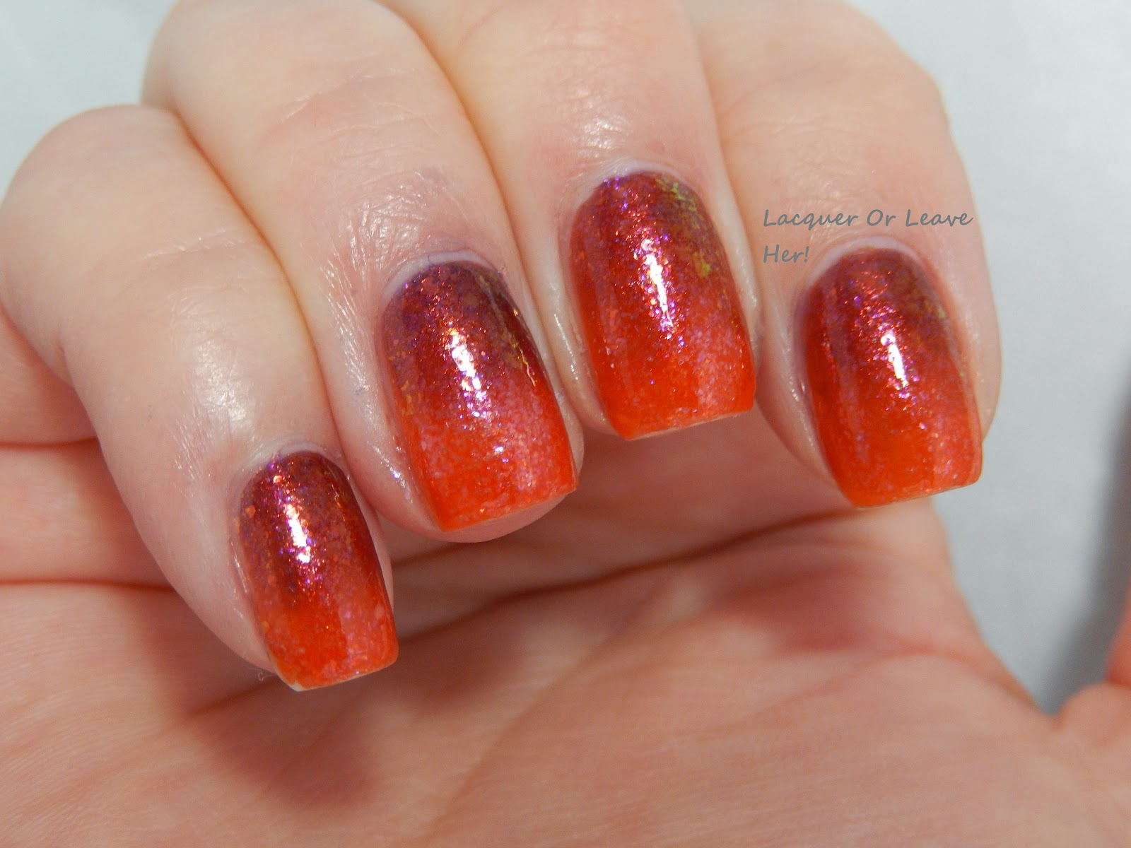 Possibly the most awesome flakie gradient ever, with LynBDesigns Do I Look Like A Frolicker and Nfu-Oh 51