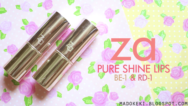 za Pure Shine Lips BE-1 Praline & RD-1 Rouge Indulge