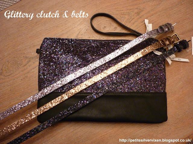 Camaieu Glitter Clutch & 3 Glitter belts | Petite Silver Vixen