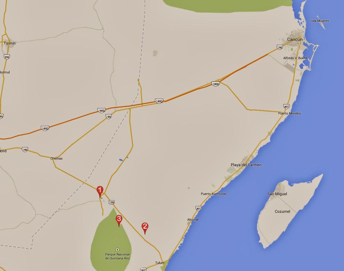 Mapa día 7 del viaje a la Riviera Maya en México