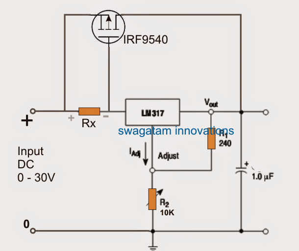 Circuito Lm317 : Lm with outboard current boost transistor circuit