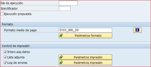 Transacción FBPM para variante seleccion SEPA DD