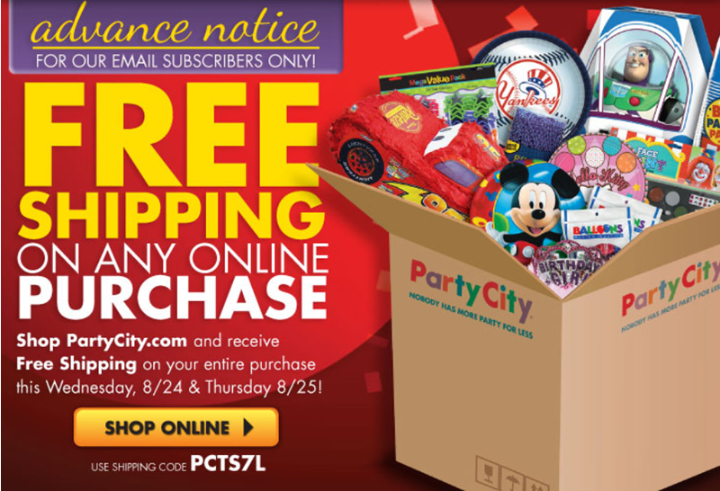 Party city free shipping coupon code