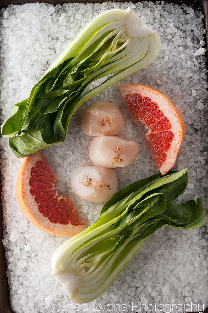 Seared Scallops with Grilled Baby Bok Choy, Grapefruit and Cracked ...