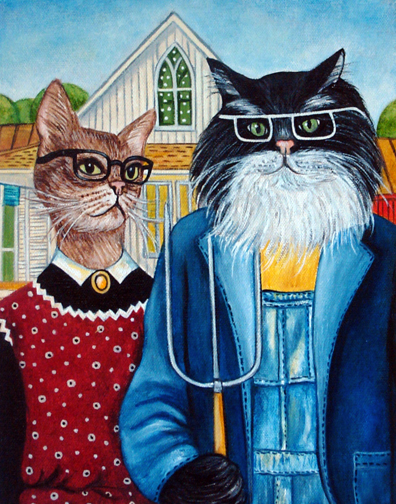 This Is K Madison Moores Deliberate Exaggeration Of The American Gothic Painting By Grant Wood