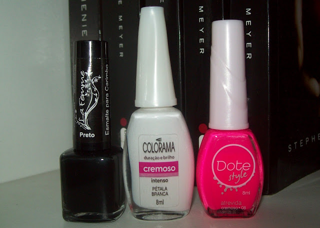 Esmalte para Carimbo Preto da La Femme; Ptala Branca, Cremoso, Colorama; Atrevida, da Coleo Dote Style