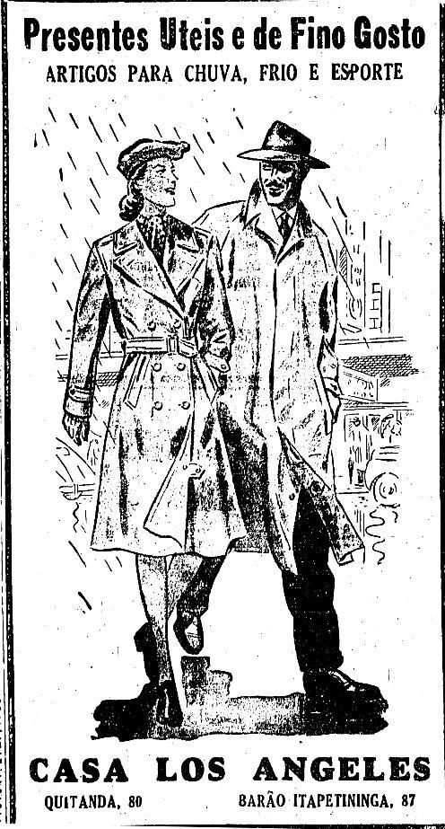 Propaganda da Casa Los Angeles em 1948 com sugestões de presentes. Destaque para as capas de chuva.