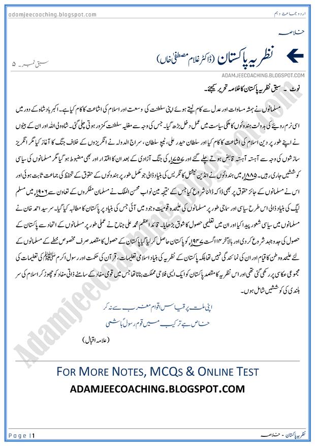 nazaria-pakistan-khulasa-urdu-10th