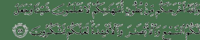 Kandungan Surah An-Nahl Ayat 78