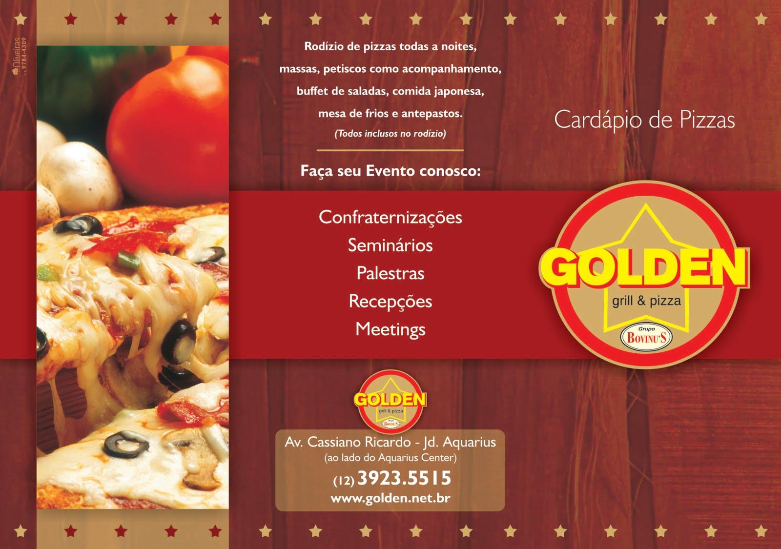 Novo Cardápio de Pizzas - Golden grill & pizza