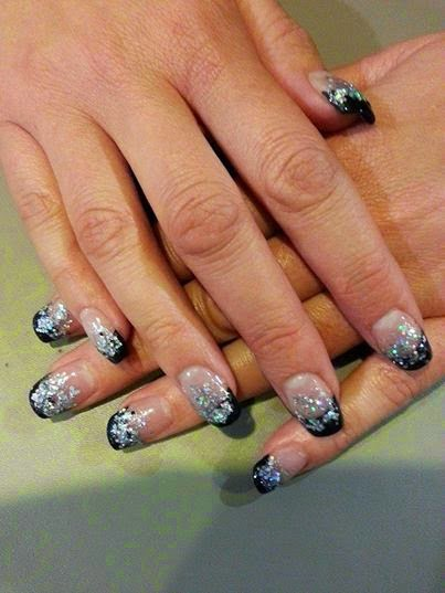 Acrylic black Frenches + gelish silver and   big holo silver glitz hazed