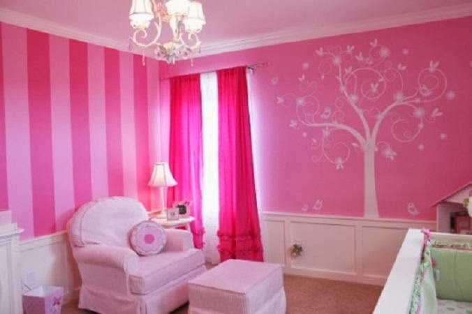 Bricolage e decora o ideias para quarto de menina com for Painting stripes on walls in kids room