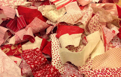 Red and Cream fabric scraps