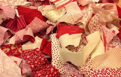 Red and Cream fabric scraps