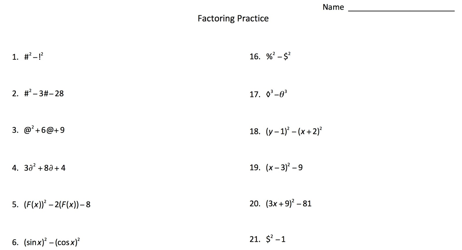 Factoring with Symbols – Algebra 2 Factoring Polynomials Worksheet