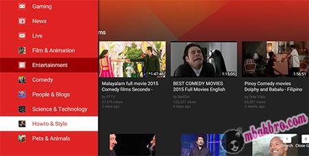 tampilan YouTube interaktif