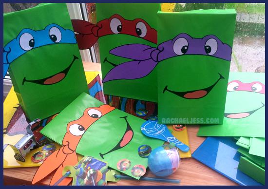 How I made teenage mutant ninja turtle party bags